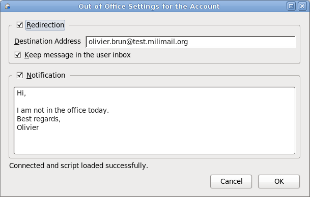 "Configuration of emails redirection and ""Out of Office"" notifications"